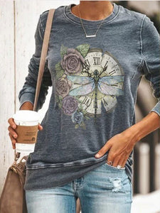 Butterfly With Flower Long Sleeve Pullover