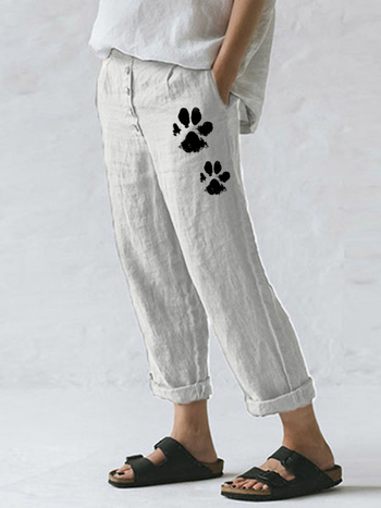 Load image into Gallery viewer, Women's Dog Paw Print Cotton Linen Pocket Button Casual Pants