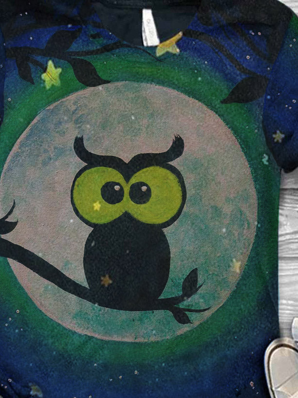 Women's Owl Print Casual T-Shirt