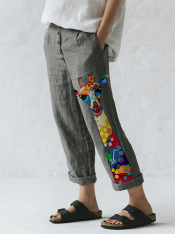 Load image into Gallery viewer, Women's Color Cute Giraffe Printed Cotton Linen Pocket Button Casual Pants