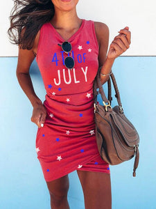 Women's 4th of July Star Print Slim Hip Dress