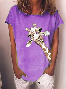 Women's Giraffe Animal Retro T-shirt