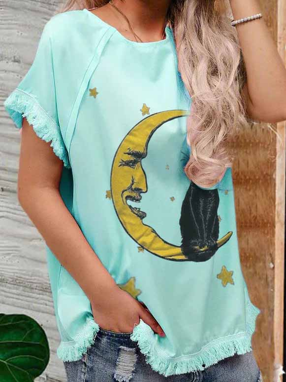 Ladies Animal Print Black Cat Moon Casual T-shirt