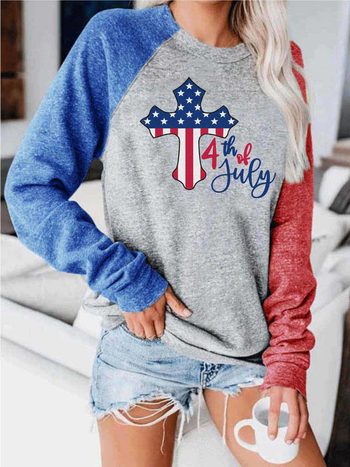 Load image into Gallery viewer, Women's 4th of July Cross American Flag Print Contrast Top