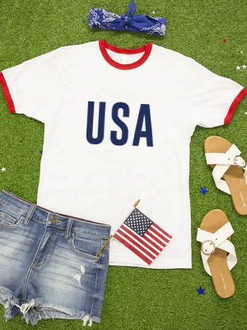Load image into Gallery viewer, USA 4th Of July Short Sleeve T-Shirt