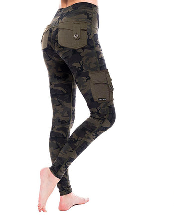 Load image into Gallery viewer, Women's solid color pocket camouflage pants yoga