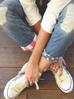 Women's  American Flag Ripped Jeans