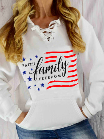 Load image into Gallery viewer, Faith Family Freedom Flag Print Casual Hoodie