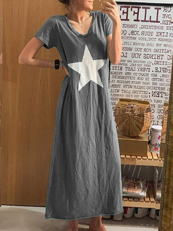 Load image into Gallery viewer, Star Cotton-Blend V Neck  Casual Dresses
