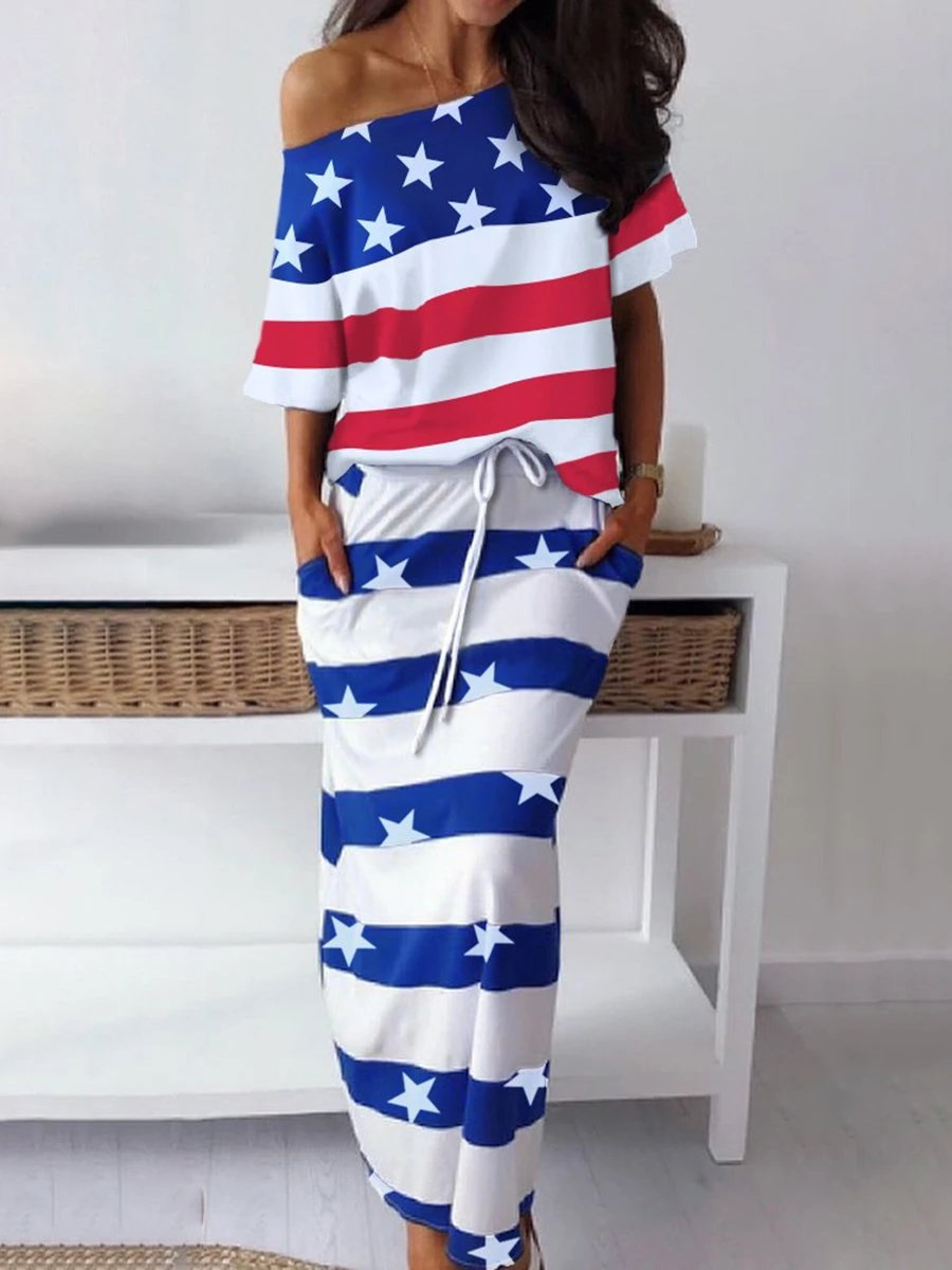 American Flag Blouse Striped Long Skirt