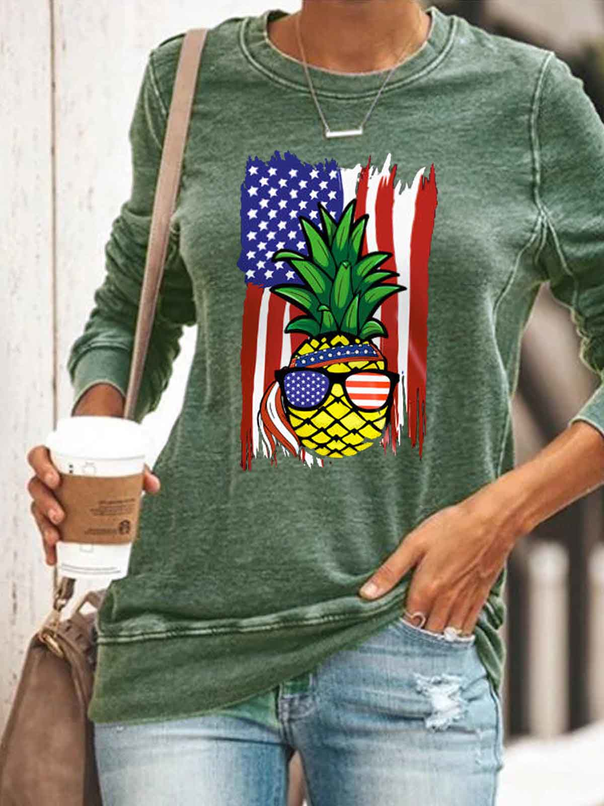 Women's Pineapple American Flag Print Top