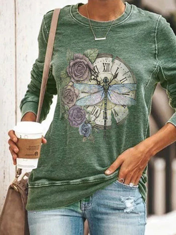 Load image into Gallery viewer, Butterfly With Flower Long Sleeve Pullover