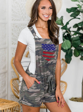 Load image into Gallery viewer, America Flag Print Camo Jumpsuit