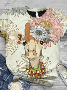 Women's Cute Cartoon Giraffe Print T-shirt