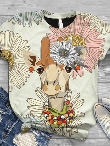 Load image into Gallery viewer, Women's Cute Cartoon Giraffe Print T-shirt