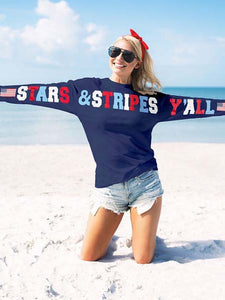 Stars &Stripes Y'all Funny American Flag Print Top