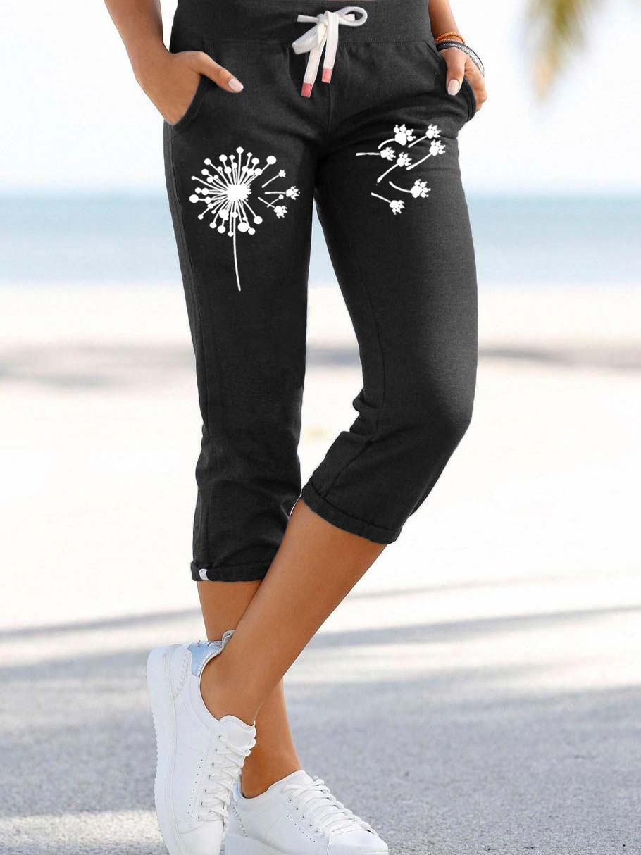 Women's Dandelion Dog Paw Print Lace Sweatpants