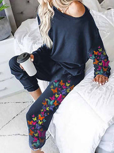 Women's Colorful Butterfly Group Print Home Service Suit