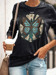 Butterfly Print Long Sleeve Pullover