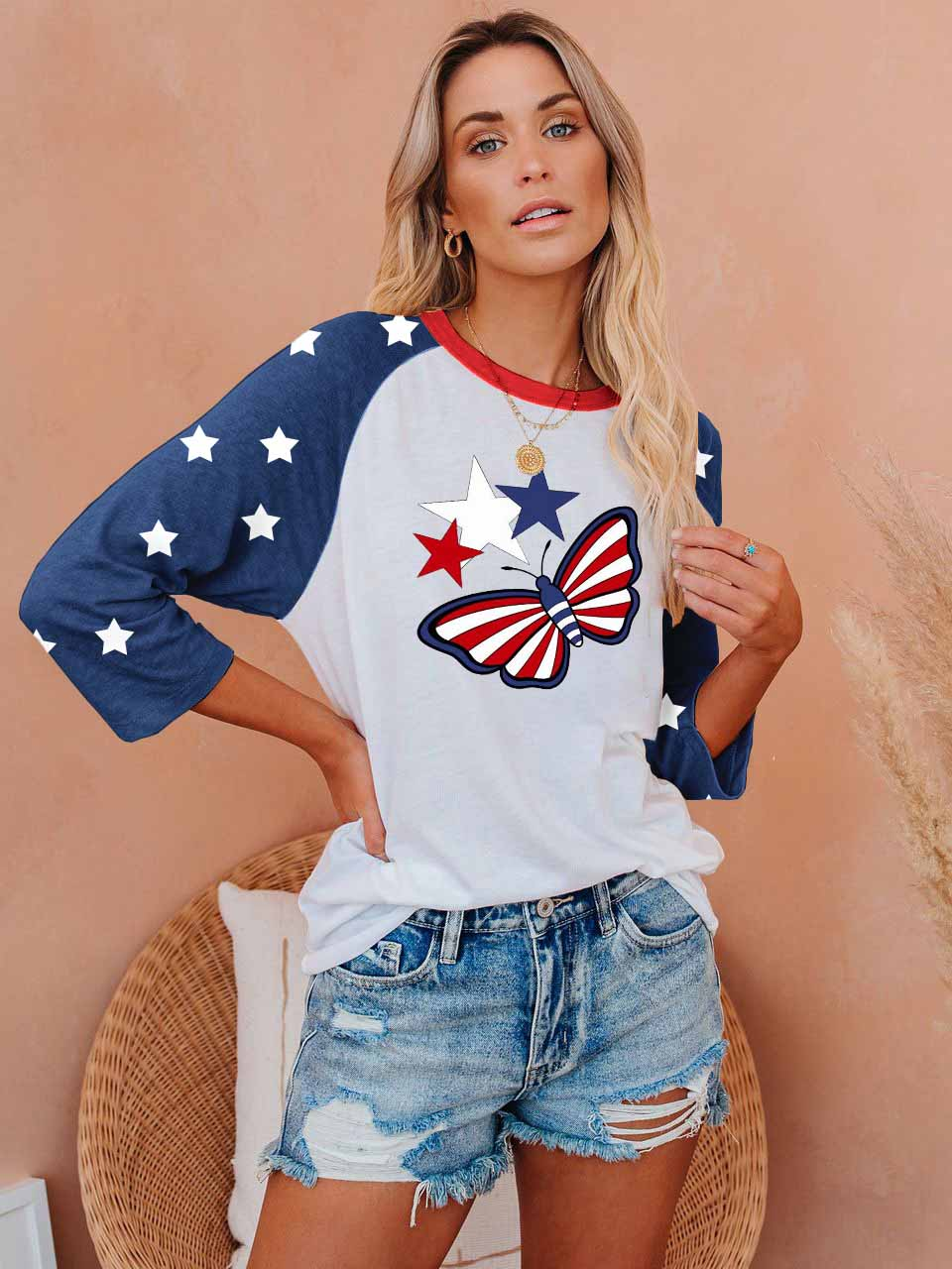 Independence Day Star and Butterfly T-shirt