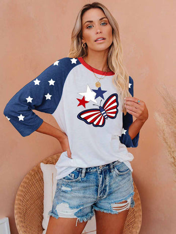 Load image into Gallery viewer, Independence Day Star and Butterfly T-shirt