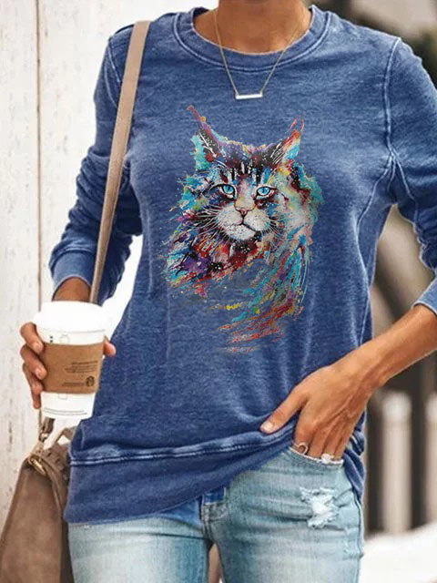 Woman's Colorful Cat Print Sweatshirt