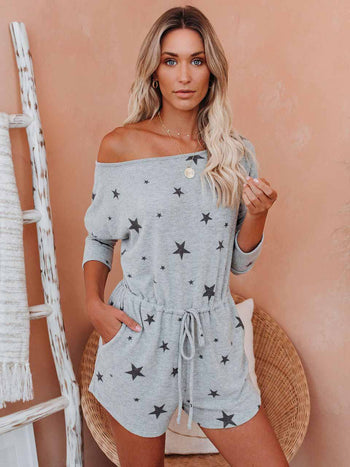 Load image into Gallery viewer, Women's Star Print Word Shoulder Drawstring Jumpsuit