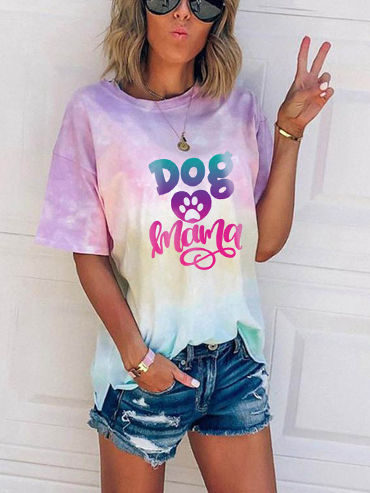 Woman's Dog Mama Tie-dye T-shirt