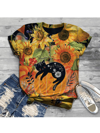 Load image into Gallery viewer, Women's cat sunflower short-sleeved T-shirt