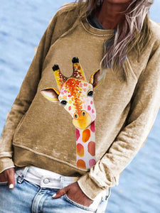 Women's Cute Giraffe Print Sweatshirt