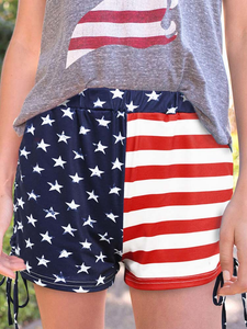 Women's American Flag Printed Casual Shorts