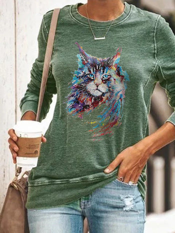 Load image into Gallery viewer, Woman's Colorful Cat Print Sweatshirt