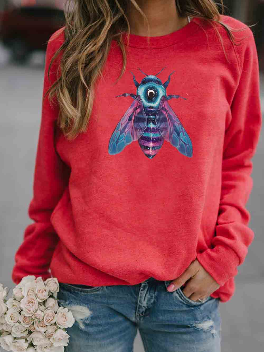 Women's Color Bee Print Sweatshirt
