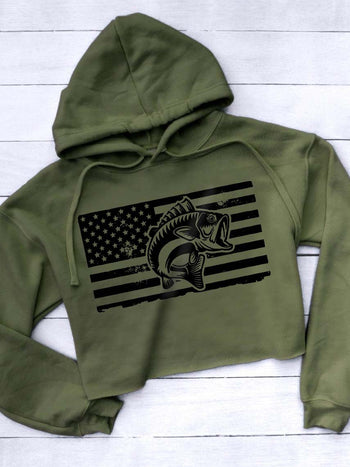 Load image into Gallery viewer, Women's American Flag Fish Print Short Hoodie