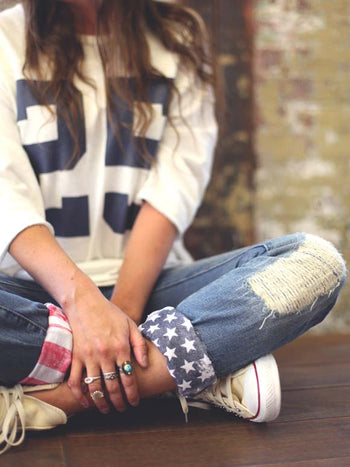 Load image into Gallery viewer, Women's  American Flag Ripped Jeans