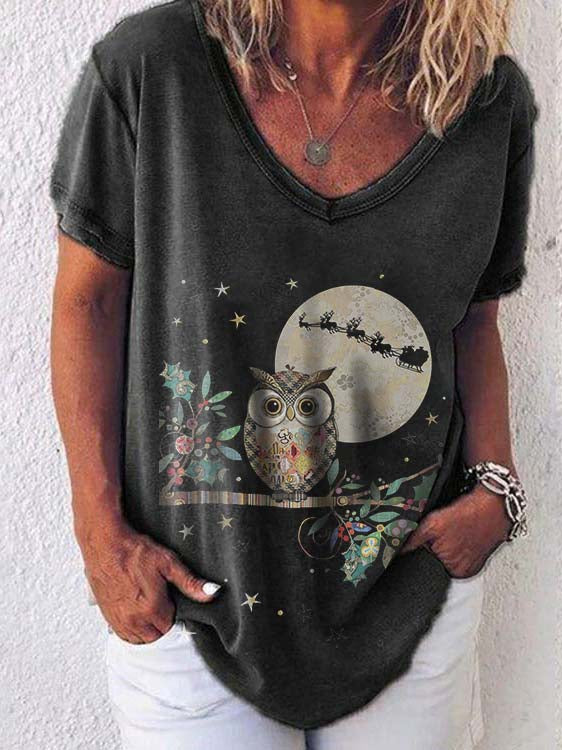 Women's Owl Moon Print Sweatshirt