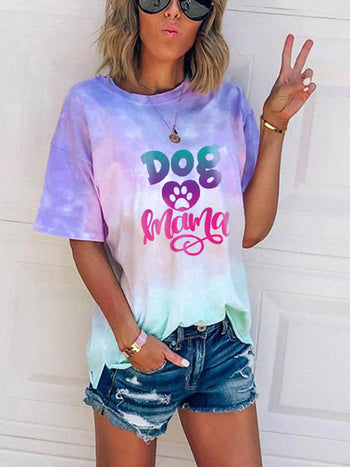 Load image into Gallery viewer, Woman's Dog Mama Tie-dye T-shirt