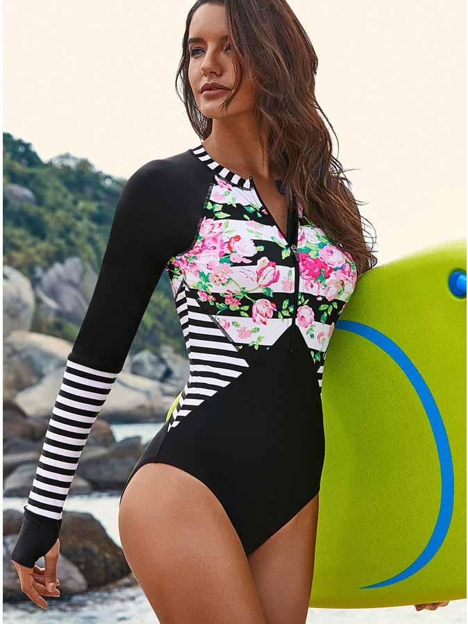 Floral Printed One-piece Surfing Swimsuit