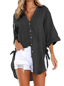 Women's Linen Cotton Linen Shirt Irregular Cardigan Top