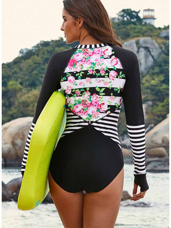 Load image into Gallery viewer, Floral Printed One-piece Surfing Swimsuit
