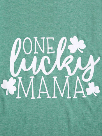 Load image into Gallery viewer, One Lucky Mama Letter T-Shirt