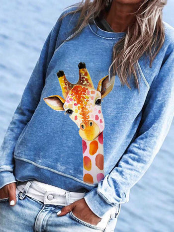 Load image into Gallery viewer, Women's Cute Giraffe Print Sweatshirt