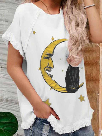 Load image into Gallery viewer, Ladies Animal Print Black Cat Moon Casual T-shirt