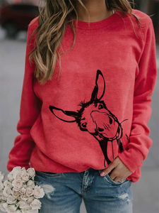 Donkey Print Long Sleeve Pullover