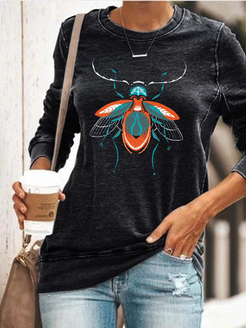 Load image into Gallery viewer, Beetle Print Long Sleeve Pullover