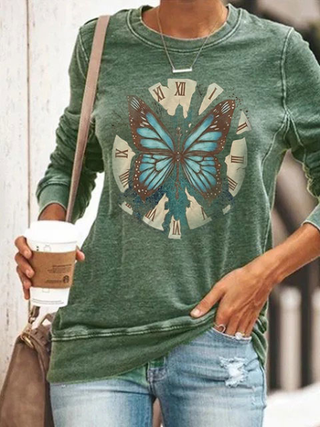 Load image into Gallery viewer, Butterfly Print Long Sleeve Pullover