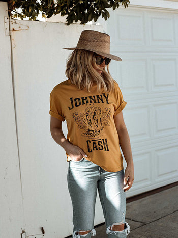 Load image into Gallery viewer, Johnny Cash Floral Boots T-shirts