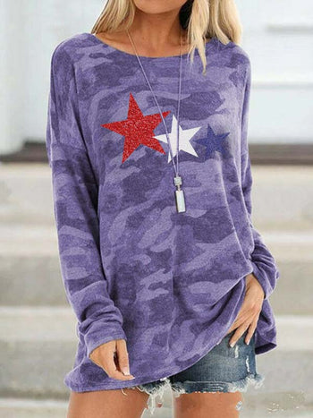 Load image into Gallery viewer, Star Print Camouflage Top
