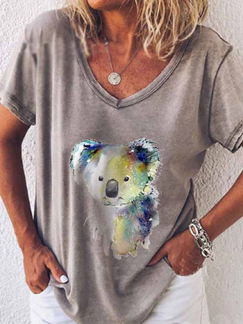 Load image into Gallery viewer, Women's Animal Print Color Koala V-neck T-shirt
