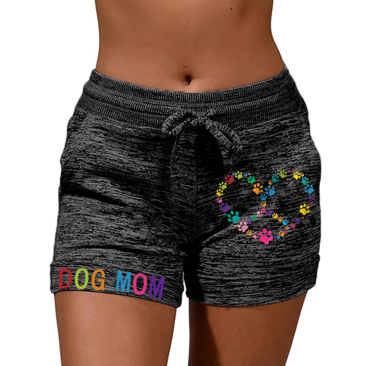 Women's Color DOG MOM Paw Heart Shaped Peace Sign Print Shorts
